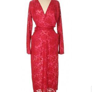 New Zara TRF red floral pattern maxi dress